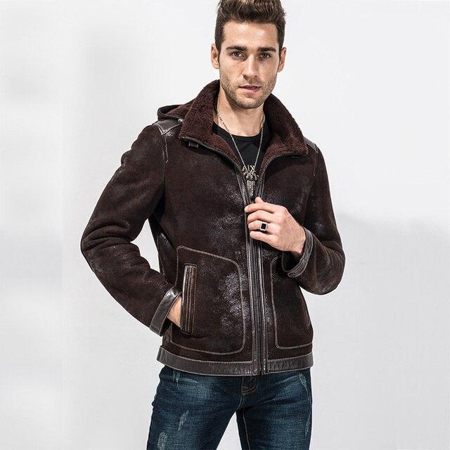 e84d364a9 Men's Brown Short Shearling Jacket Sheepskin Jacket Mens Premium ...