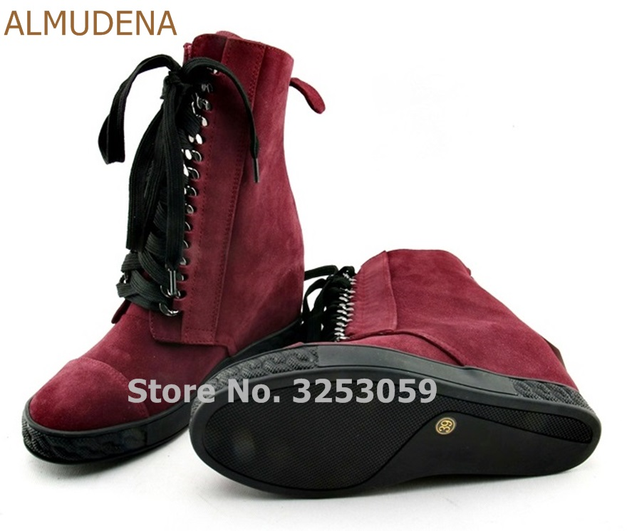 Здесь продается  ALMUDENA Women Real Leather Burgundy White Black Chain Sneakers Lace-up Vogue Shoes Wedge Height Increasing Ankle Boots   Обувь