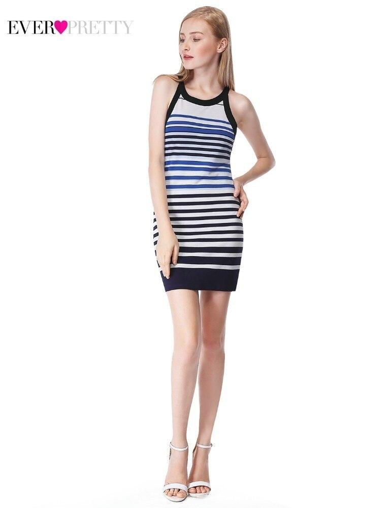 Mini   Cocktail     Dresses   Ever Pretty AS05675SB Straight O-Neck Sleeveless Striped Women Casual Party   Dresses   Vestidos Coctel 2019