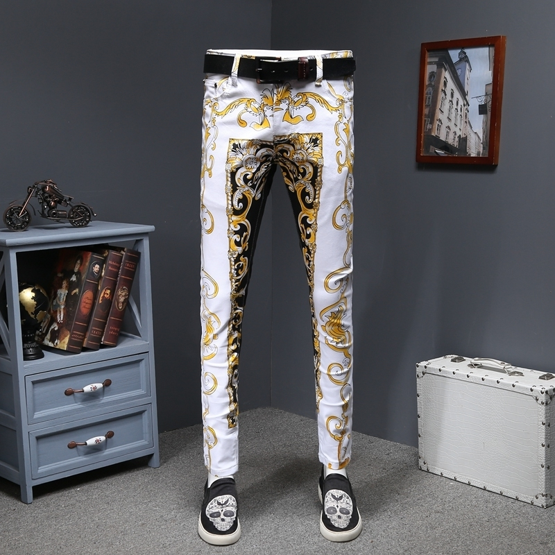 Luxury Gold Print Jean Homme Slim Designer Denims Jeans Men Erkek Kot Pantolon SkinnyGold Denims Stretch Fancy Party Trousers