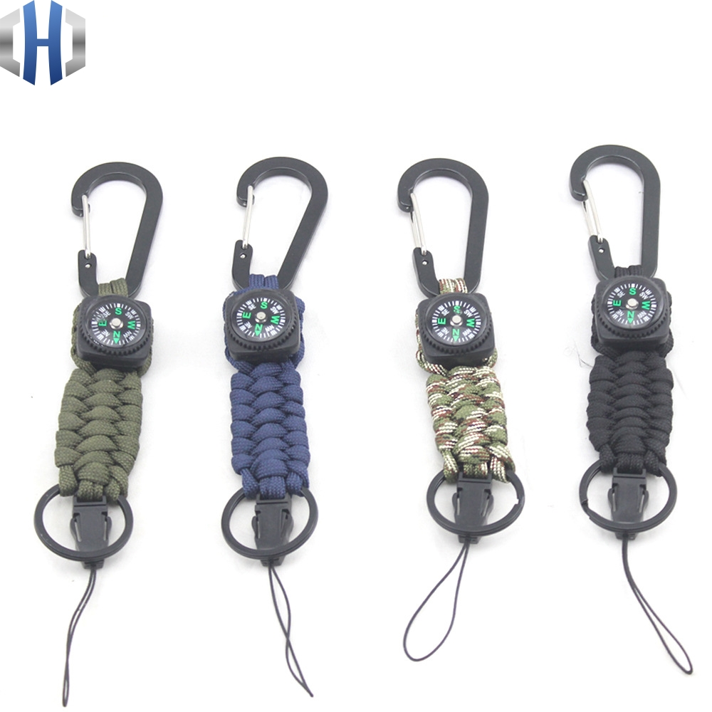 Outdoor Carabiner Shackle Compass Key Chain Multifunctional Rope Ring Hang Buckle Paracord