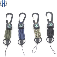 Outdoor Carabiner Shackle Compass Key Chain Multifunctional Rope Shackle Key Ring Hang Buckle Paracord цены