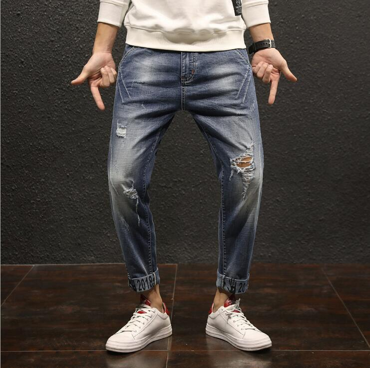 2018 New Mens Jeans Spring Summer Mens Tide Brand Holes Trousers Boys Elasticity Slim Pants Cropped Jeans Man Large size pants