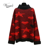 Cold shoulder halter knitted sweater female Casual autumn winter stars Love sweater women knit pullover jumper pull femme C 027