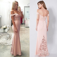 Off Shoulder Long Prom Dresses Sheath Open Back V Neck Sleeveless Lace Applique Evening Formal Party Dress Vestido De Fiesta