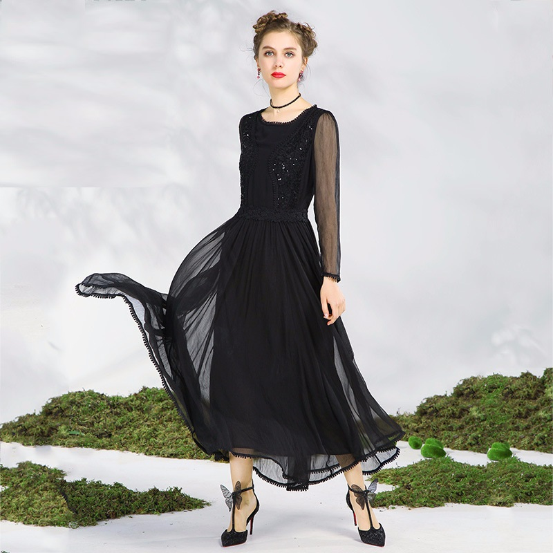 2018Spring ladies beautiful long dress big bottom sequin elegant  cultivating party dress longos vestido de festa plus size S 5XL-in Dresses  from Women s ... 109f46472247