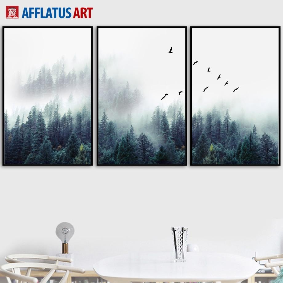 AFFLATUS Paisaje Forestal Arte de La Pared Cartel de la Lona y - Decoración del hogar
