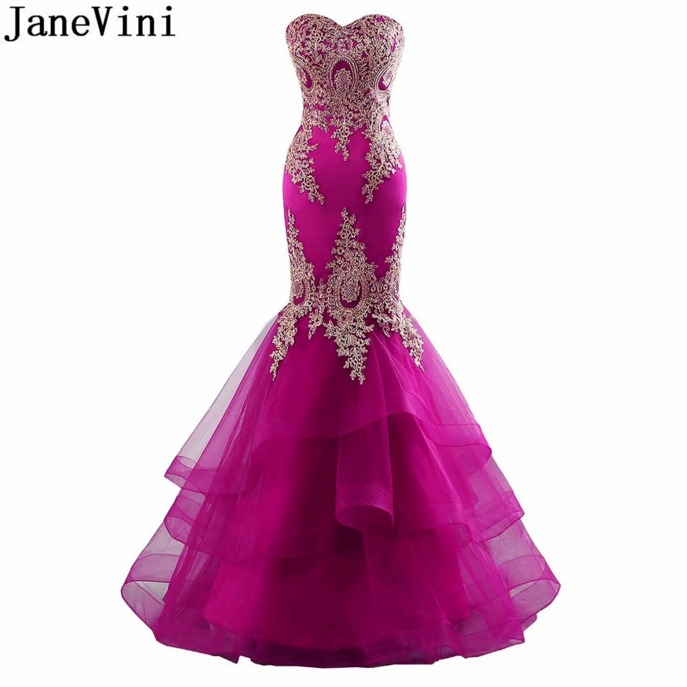 JaneVini Sexy Mermaid Green Bridesmaid Fuchsia Dress With Gold Lace ...