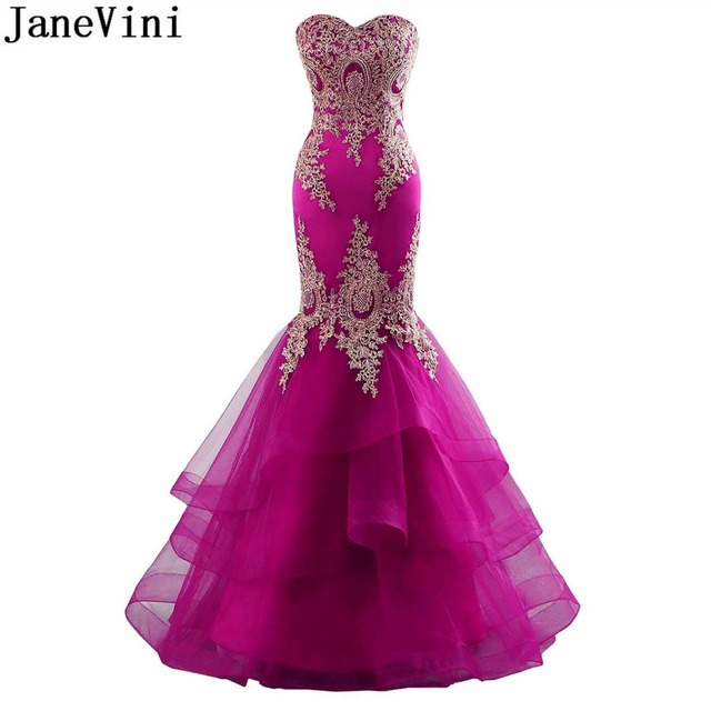 JaneVini Sexy Mermaid Green Bridesmaid Fuchsia Dress With Gold Lace Tulle Long Luxury Royal Blue Prom Dresses Wedding Party Gown