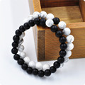 2Pcs Couples His & Hers Distance Bracelet Lava Bead Matching YinYang Anniversary SYT9101