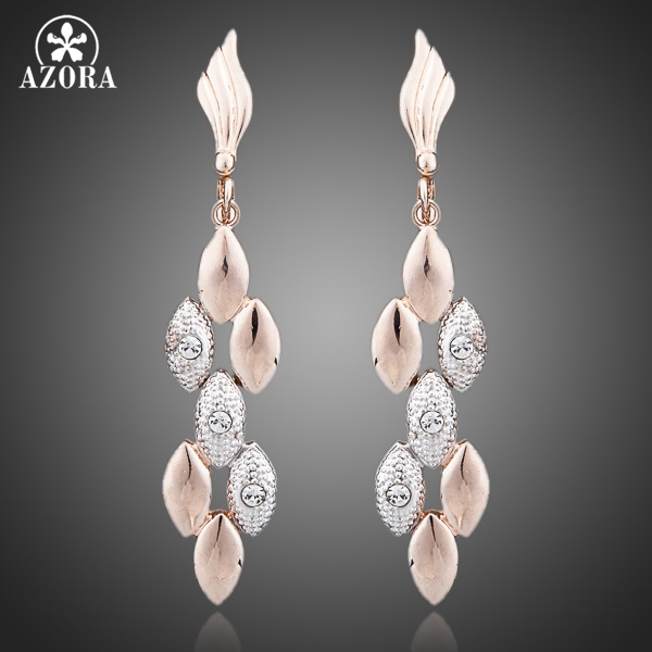 AZORA Latest Design Rose Gold Color Two Tone Wheat Ears with Rhinestones Feast Tassels Earrings TE0071