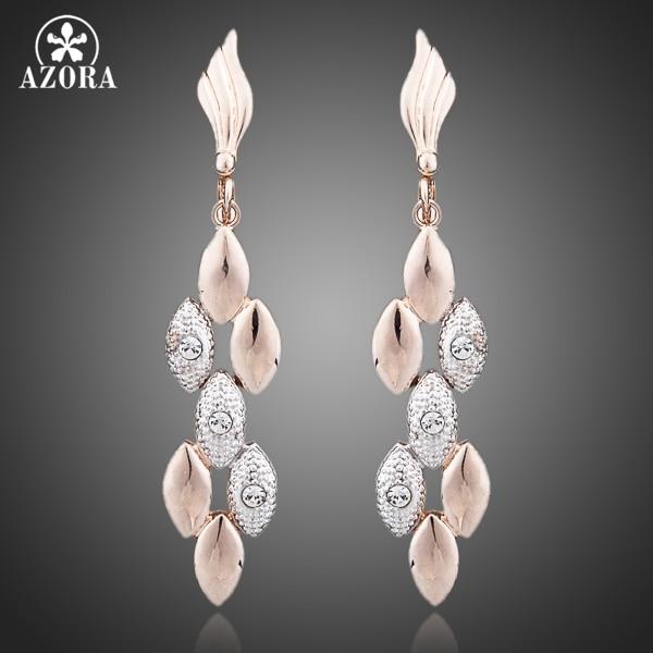 AZORA Latest Design Rose Gold Color Two Tone Wheat Ears with Rhinestones Feast Tassels Earrings TE0071