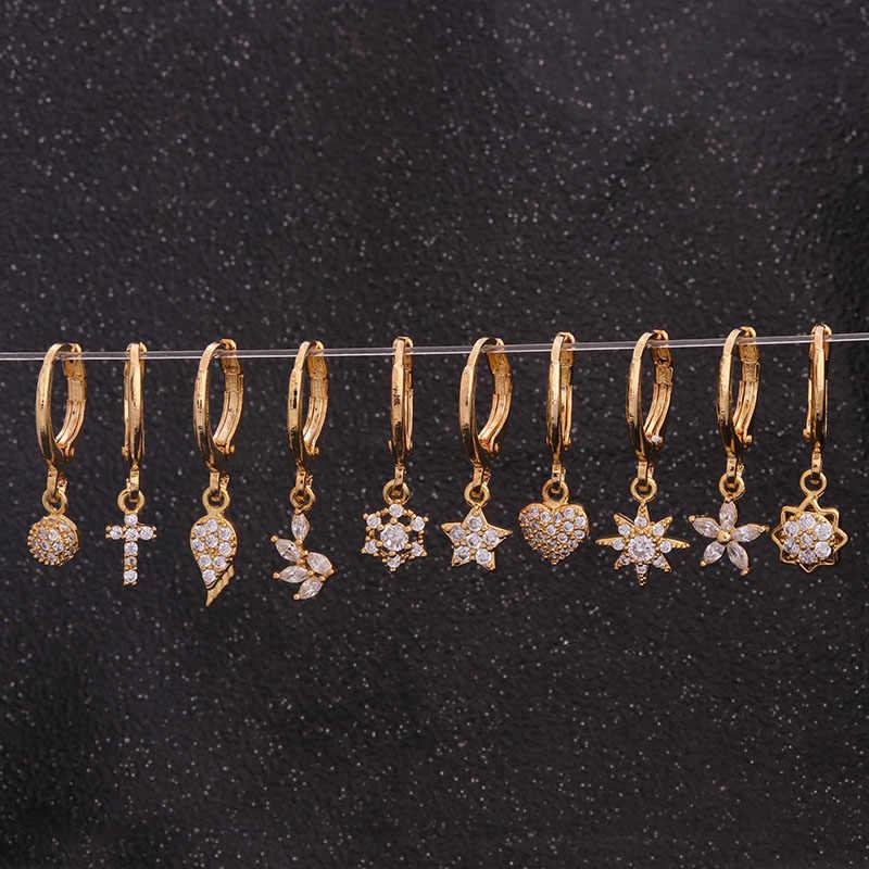 1 pc Boho Dainty Hoop Mit Kleine Cz Ohrring Kristall Kreuz Blume Stern Herz Flügel Ohr Piercing Schmuck Tiny Ohrring