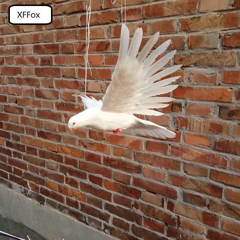 白実生活羽ハトモデル泡 & フェザーピンク口 & 足鳩鳥の人形約 28 × 50 センチ xf0062