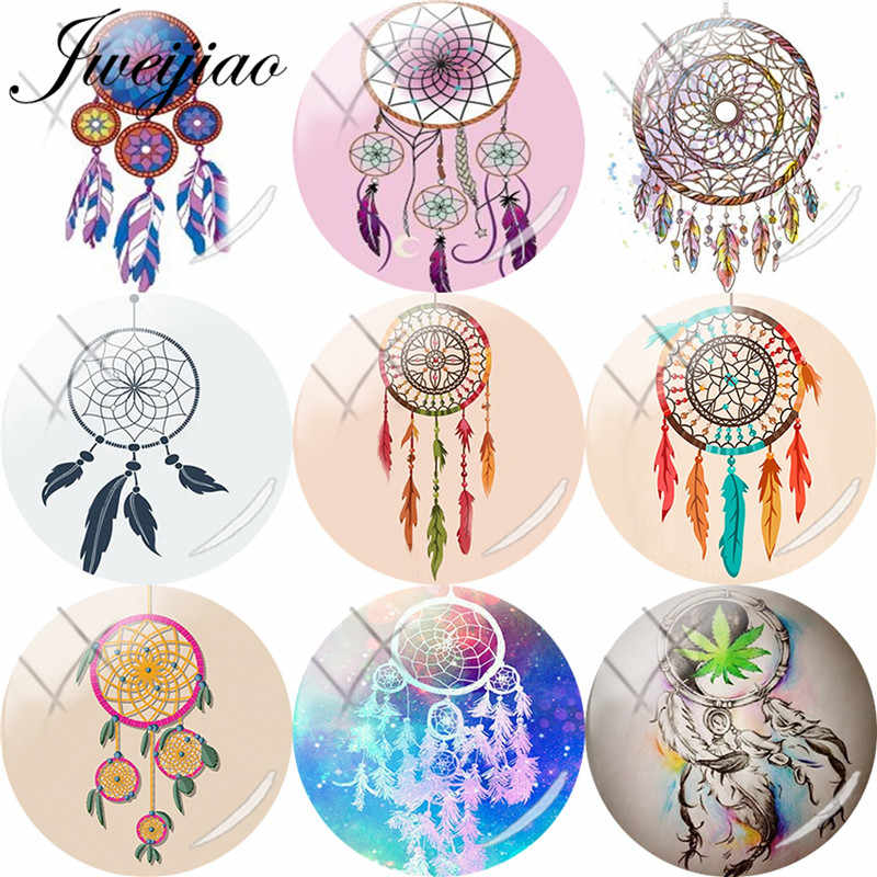 JWEIJIAO Dreamcatcher Feather Dream Catcher Art Picture DIY Glass Cabochon Dome Brooch Keychain Demo Flat Back Making Findings