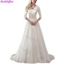 Wholesale Lace V-neck Elegant Princess Wedding Dress 2019 Long Sleeves Appliques Celebrity Mariage A-line vestido De Noiva