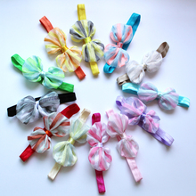 цена на 2018new Girl Snow spinning net stripe Bows with headband Girl's hairbows Boutique Headwear Kids Hair Accessories 24ps/lot