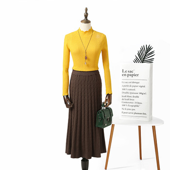 pleated skirt  long skirt  2019 autumn and winter new women's solid color knit  thick pleated skirt box pleated skirt