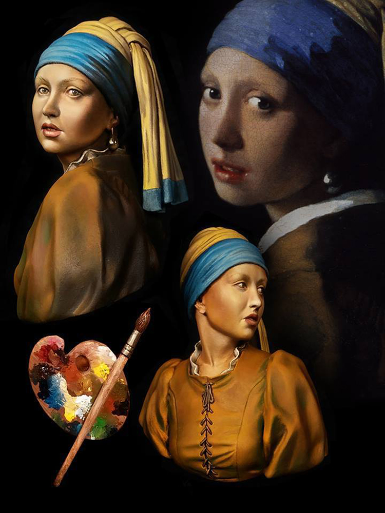 1/10 Girl with a pearl earring soldier bust toy Resin Model Miniature Kit unassembly Unpainted 1 10 bust resin model kit young soldier 1944 figures model unpainted and unassembled free shipping 92dd