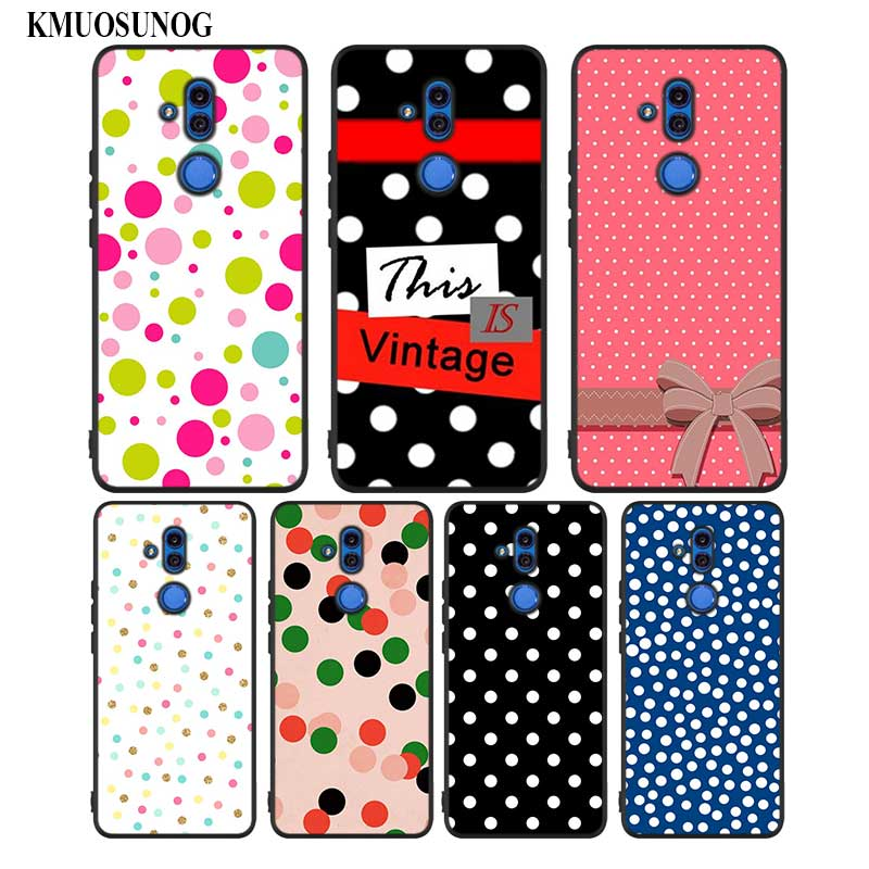 Black Silicon Phone Case Polka dots for Huawei Honor Mate 7C 7A 8 8A 8X 9 10i 10 20 Nova 3 3i Pro Lite in Fitted Cases from Cellphones Telecommunications