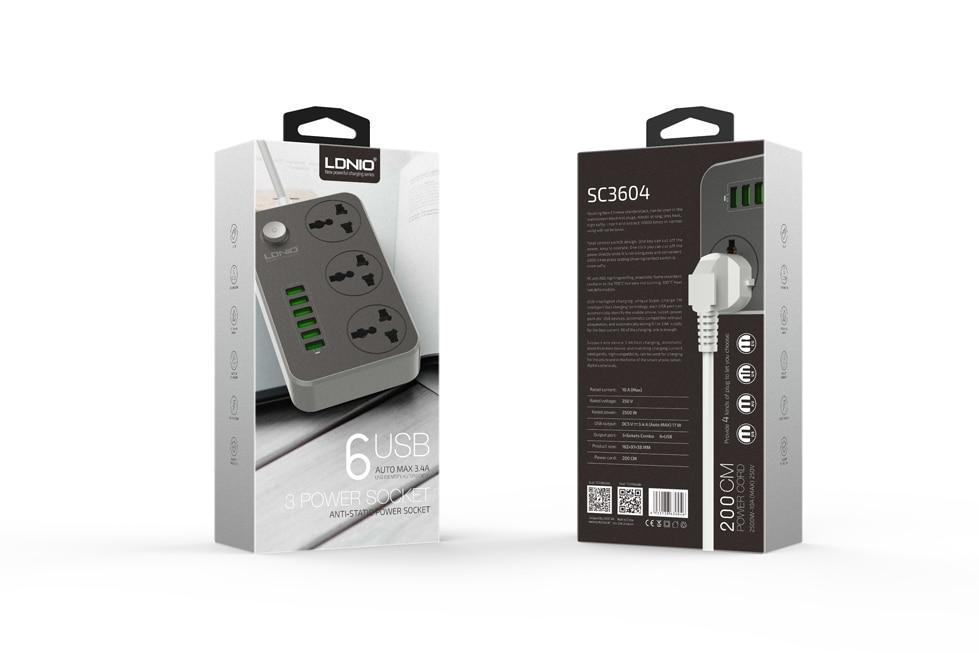 LDNIO SC3604 3.4A Power Strip Power Socket Plug With 6 USB