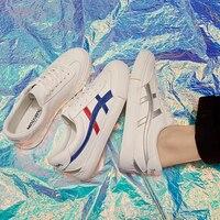 {D&Henlu}Blue Stripes Male Sneakers Lace Up Leather White Mens Shoes Casual Men Flats Shoes Fashion Vulcanize Canvas Men Shoe