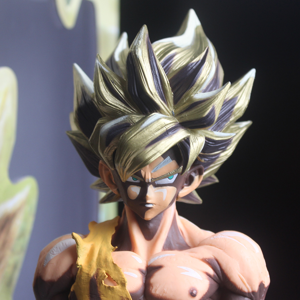 Anime Dragon Ball Z Son Goku MSP Kakarotto Super Saiyan Colorfulr Battle Damage PVC Model Action Figure Toy 34cm 16cm anime dragon ball z goku action figure son gokou shfiguarts super saiyan god resurrection f model doll