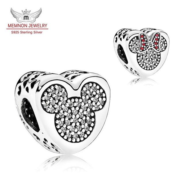 Mickey y Minnie encantos Del Corazón de plata de ley 925 de joyería fina fit pulsera del encanto del grano de DIY para el regalo del Día de San Valentín Memnon Jewelr