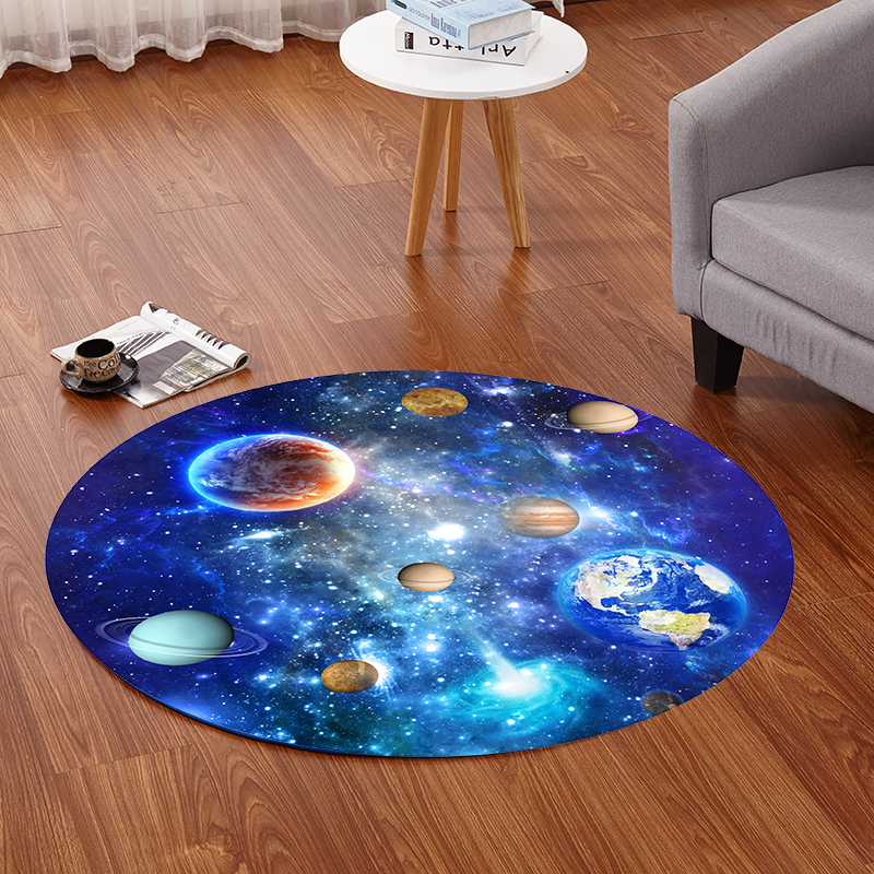 PAYSOTA Rug Creative Earth Starry Sky Fasjonable Living Room Study Bedroom Teppe Non-slip Mat