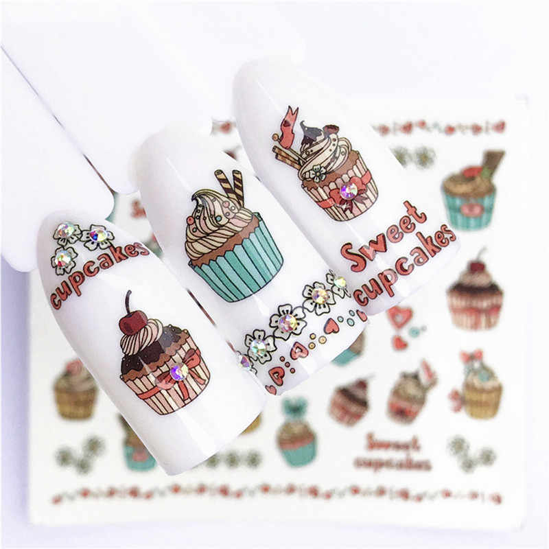 1 pcs Fruit Christmas Nail Stickers Flowers pPlants Water Decal Cat Pattern 3D Manicure Sticker Nail Art Decoration m2N96