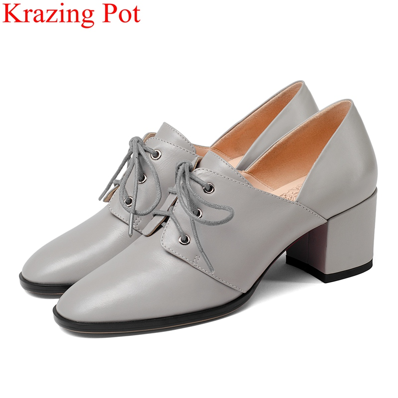 2018 fashion genuine leather concise lace up high heels big size women pumps buckle elegant footwear