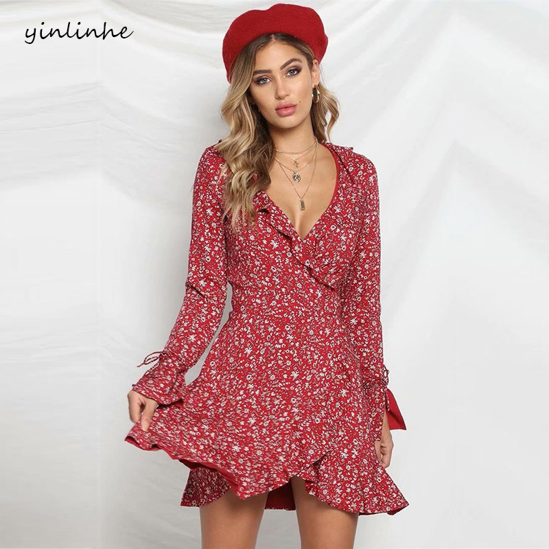Yinlinhe 2019 Red Floral Spring Dress Women Long Sleeve