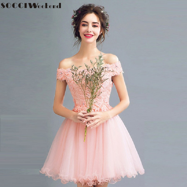 Robe courte en dentelle rose