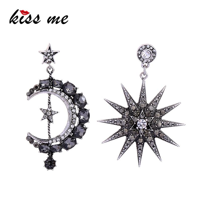 Korean Charm Woman Crystal Star and Moon Earrings Rhinestone Long Pendant Dangle