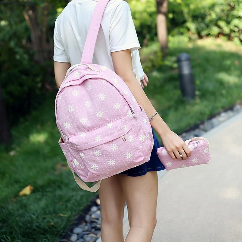 2016 School Back 2 Pcs set School Teenage Backpack for Girls Floral Backpack for Kids Canvas