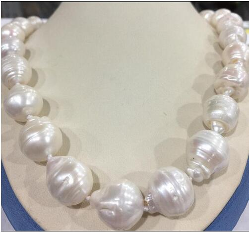 free shipping Large 15-23mm White Unusual Baroque Pearl Necklace disc Clasp/