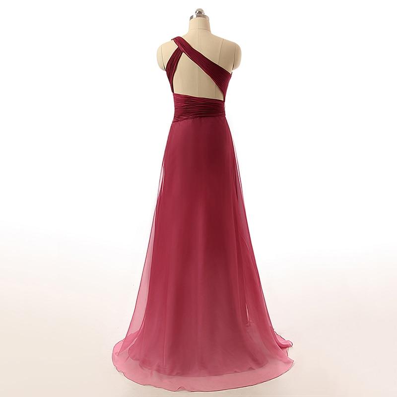 Sexy Cut Out Back Prom Kjoler En Shoulder A-Line Long Evening Dresses - Spesielle anledninger kjoler - Bilde 2
