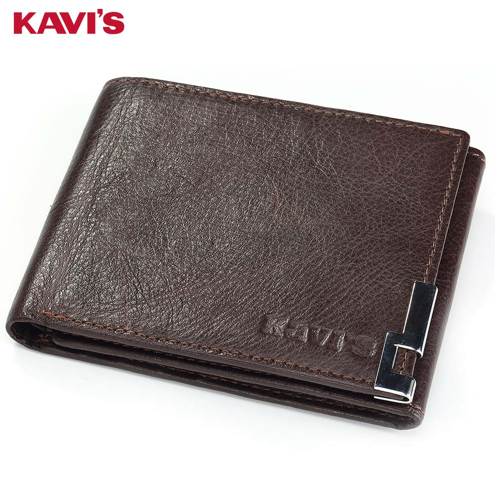 KAVIS Genuine Leather Men Wallet Coin Purse Pocket Trifold Design High Quality Gift Male Cuzdan Card Holder Thin Walet Vallet