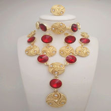 Kingdom Ma Gold Color Nigerian Wedding African Beads CZ Jewelry Sets Red Crystal Bracelet Earring Ring Jewelry Sets(China)