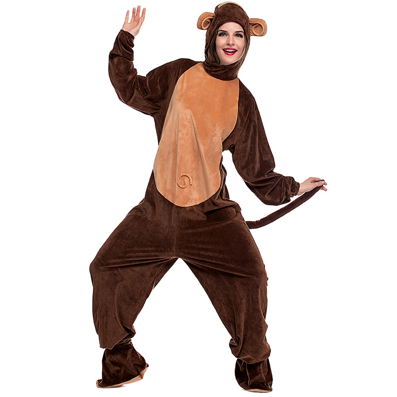 Adult Monkey Costume For women Cute Warm Thick Cosplay Polyester Fleece Animal Clothes Halloween Carnival