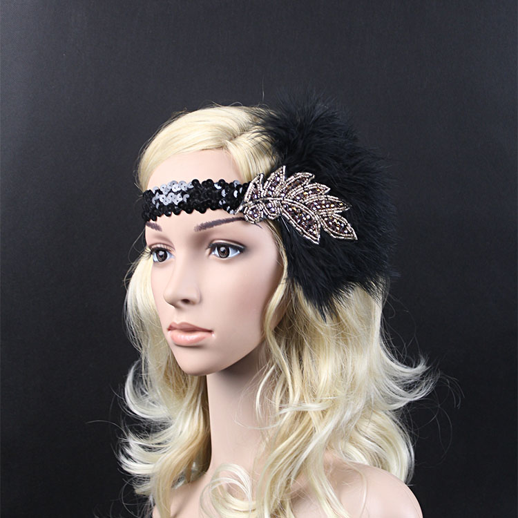 Vintage Feather Beads Sequins Embellished 20s Headpiece 1920s Gatsby Flapper Headband With Purple Diamond Leaf Ornament women s hats and fascinators vintage sinamay sagittate feather fascinator with headband tocados sombreros bodas free shipping