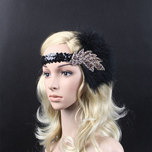 Vintage Feather Beads Sequins Embellished 20s Headpiece 1920s Gatsby Flapper Headband With Purple Diamond Leaf Ornament