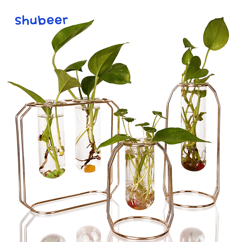 3PCS Metal Glass Vase Planter Flower Stand Garden Patio Flowerpot Rack Display Modern Water Planter Desktop Decoration Ornament