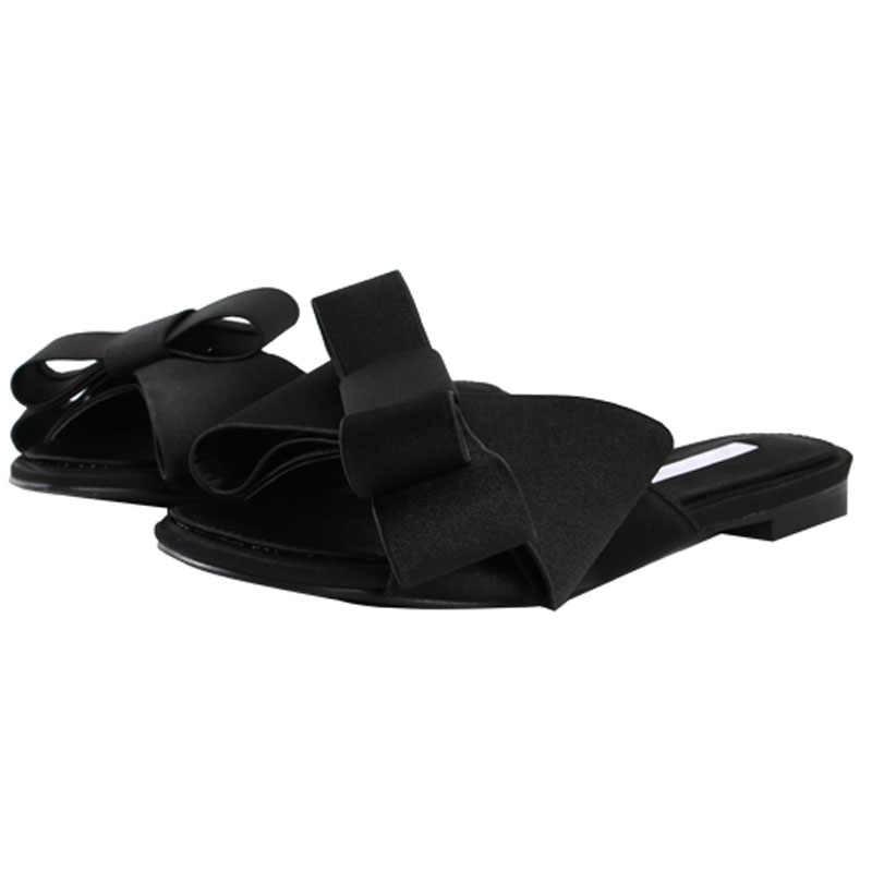 Mặc phẳng Dép nam nữ 2019 phiên bản Hàn Quốc của mùa hè mới lớn nơ satin đầu tròn Giày sandal Hoang Dã đôi dép