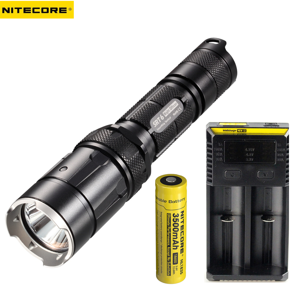 Tactical Flashlight NITECORE SRT6 KIT XM-L2 T6 max.930LM beam distance 260M Infinite brightness tactical + battery + charger nitecore mt10a tactical flashlight cree xm l2 u2 920 lumen led flashlight nitecore imr 14500 rechargeable battery power charger