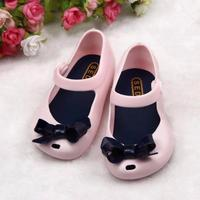 Summer girls rubber hollow toddler shoes bow child ...