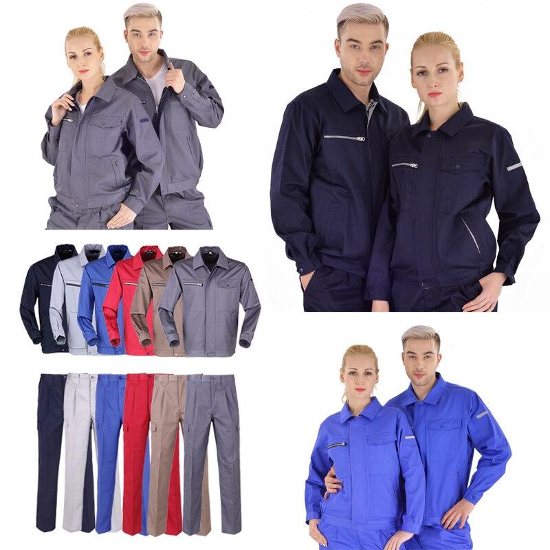 Das mulheres dos homens roupa de trabalho uniforme do mecânico de oficina de carro reparação macacões macacões desgaste uniformes de trabalho de soldagem Jacket + Pants