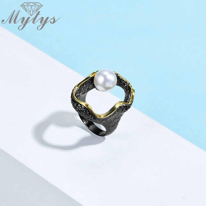 Mytys Ретро Античное черное кольцо Уникальный дизайн полое кольцо Жемчужное Украшение Золотая проволока рамки для женщин винтажный подарок R2130