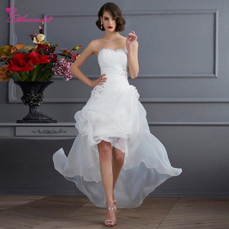 Alexzendra High Low White Organza Simple Wedding Dress 2019 Customize vestidos de noiva Bridal Gowns Wedding Gowns for Bride