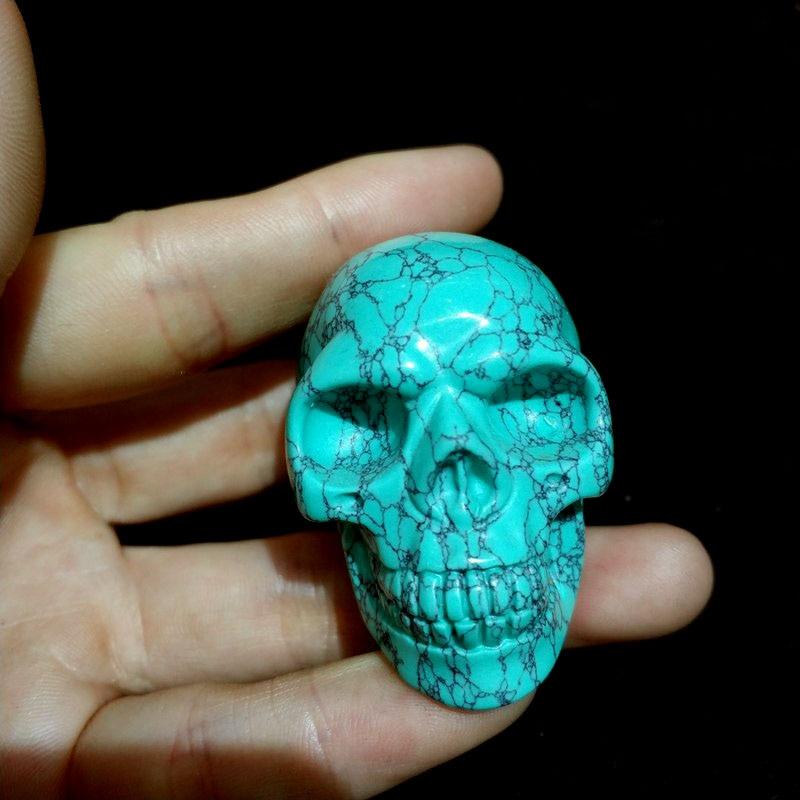 "1.3/"" Natural Aventurine Quartz Crystal Skull Hand Carved Healing 1pc 30-45g"